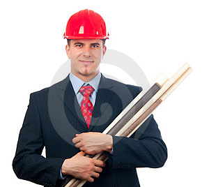 Smiling Engineer With Hard Hat And Blueprints Royalty Free Stock Images - Image: 23991239