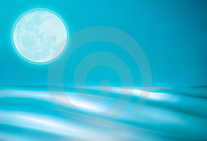 Abstract Teal Ocean With Full Moon Stock Image - Image: 23991491