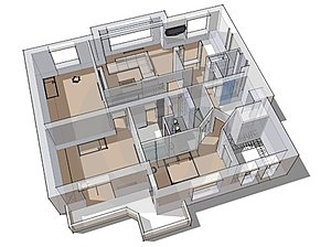 3d Apartment Sketch Royalty Free Stock Image - Image: 23993536