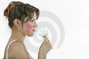 Sexy healthy woman with a glass Royalty Free Stock Image