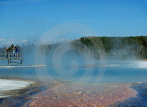 Photographers and Geyser Pool Stock Photography