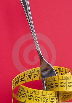 Close up of a fork with centimeter Stock Photography