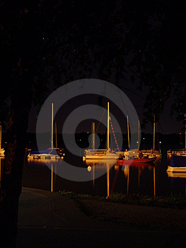 Sails At Night Stock Images