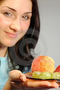 Fille avec fruits1 Photos libres de droits