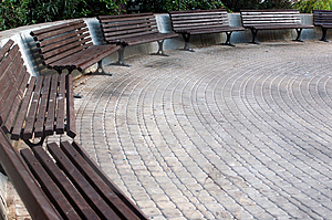 Benches in a semicircle Stock Images