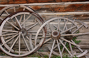 Broken Wagon Wheels Stock Photography