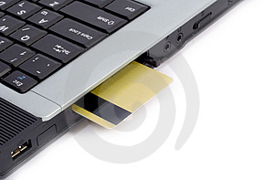 Credit Card Inserted In Laptop Stock Photos - Image: 2400943