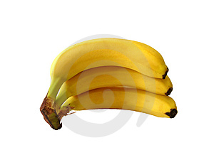 Isolated banana on white Free Stock Photo