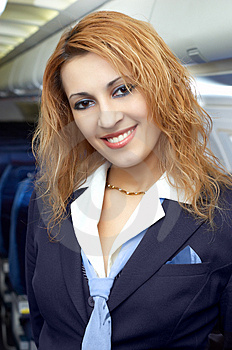 Air hostess (steweardess) Royalty Free Stock Images