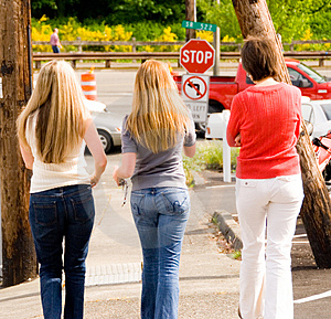 Girls On The Way To The Park Royalty Free Stock Photos - Image: 2409748