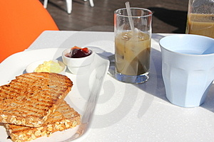 Simple Breakfast Served Outside Stock Images - Image: 24004234