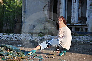 Young Lady Near Ruins Royalty Free Stock Image - Image: 24007866