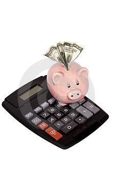 Calculator With Piggy Bank And Money Royalty Free Stock Photography - Image: 24010997