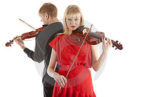 Musicians Playing Violins Stock Photos - Image: 24023753