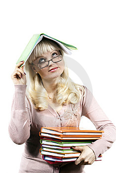 Girl Holds A Book On Her Head Stock Photography - Image: 24035312