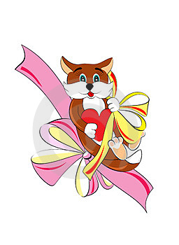 Pretty Kitty With Heart And Bow Royalty Free Stock Image - Image: 24041146