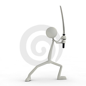 Figure With A Katana - Right Royalty Free Stock Photo - Image: 24041925