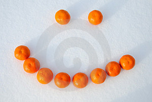 Smile, Composed Of Oranges In The Snow Stock Photos - Image: 24047213