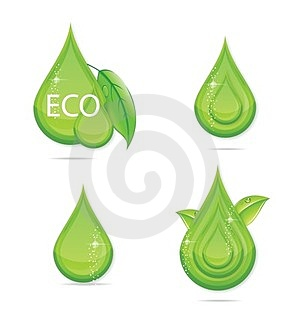 Elegance Green Drops Water Eco Sign Stock Photo - Image: 24053710