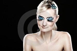 Beautiful Blonde With Artistic Makeup Royalty Free Stock Photos - Image: 24069588