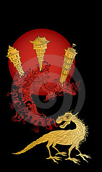Golden Dragon And The Ancient China Town Royalty Free Stock Photo - Image: 24071605