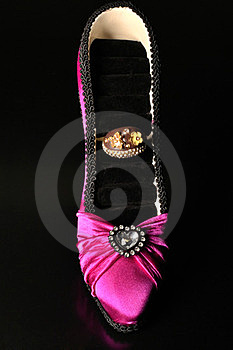 A Pink Shoe And A Ring Stock Photography - Image: 24078792