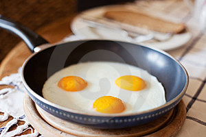 Frying Pan With Three Fried Eggs Stock Photography - Image: 24078932