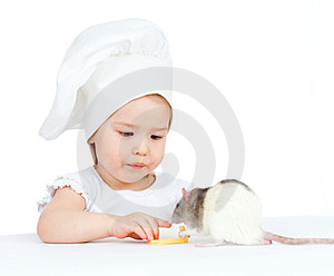 Girl And Domestic Rat Eating Healthy Food Stock Photos - Image: 24084633