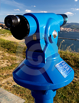 Coin Operated Blue Telescope Royalty Free Stock Image - Image: 2417396