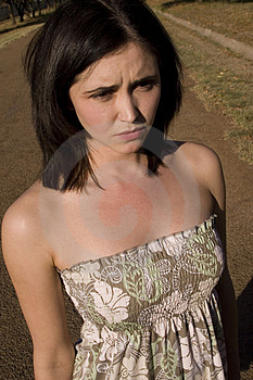 Sad Brunette Daydress Stock Images - Image: 2418694