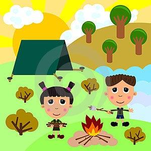 Kids Camping Stock Image - Image: 24110121