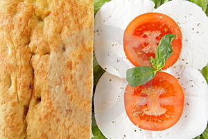 Focaccia Whit Caprese Mozzarella End Tomato Stock Photo - Image: 24114780