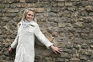 Young Happy Woman In White Fur Coat Royalty Free Stock Image - Image: 24116796