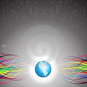 Abstract Colorful Lines Emerging From Planet Earth Royalty Free Stock Image - Image: 24132306