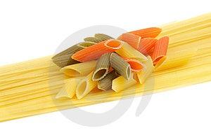 Italian Pasta Spaghetti And Penne Rigate Tricolore Stock Photography - Image: 24139842