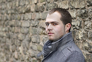 Young Man In Gray Coat Stock Photo - Image: 24140690