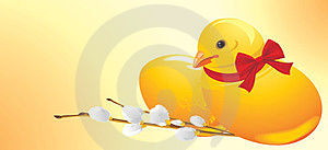 Easter Chick And Willow Branch. Festive Banner Stock Images - Image: 24143354