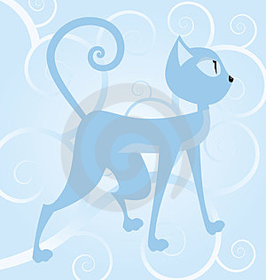 Blue Cat On Spiral Background Stock Photo - Image: 24152710