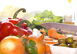 Preparation Of Fresh Vegetables Royalty Free Stock Images - Image: 24154919