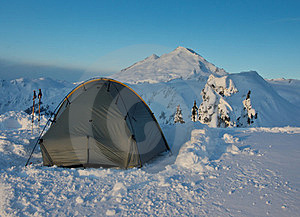Tent And Mt. Baker Stock Image - Image: 24163471
