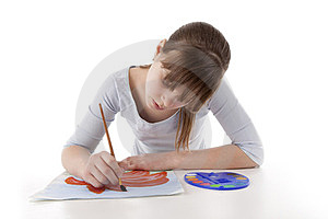 Girl Drawing Color Flower Stock Photos - Image: 24167703