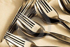 Close-up Of Spoon And Fork Stock Image - Image: 24174451