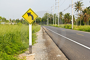 Curved Road Signpost Royalty Free Stock Photos - Image: 24183318