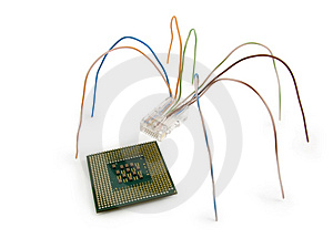 Spider And A Microcircuit Stock Image - Image: 2421431