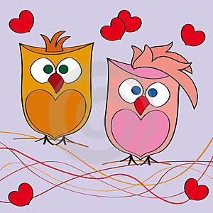 Couple Of Owls In Love Stock Image - Image: 24204171
