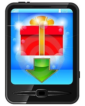 Cell Phone And Gift Royalty Free Stock Images - Image: 24210389