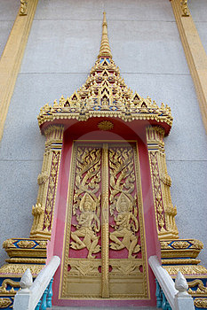 Decorate Door At Thai Temple. Royalty Free Stock Photos - Image: 24227538