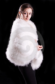 The Girl In A White Fur Coat Stock Photography - Image: 24242002