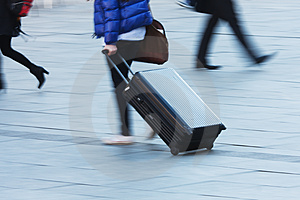 Travelling Person With A Trolley Case Stock Photo - Image: 24244810