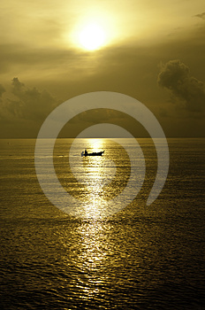 Tiny Boat In The Ocean Stock Image - Image: 24280931